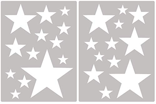 PREMYO Juego 25 Estrellas Pegatinas de Pared Habitación Infantil Niños Bebé Adhesivos Vinilos Decorativos Bonitos Fácil de Poner y Quitar Blanco