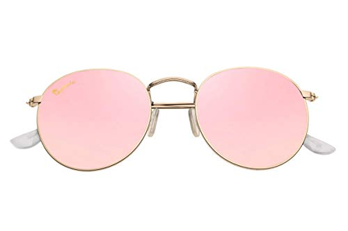 Capraia Bellone Cool Round Festival Sunglasses High Quality Golden Metal Frame and Pink Mirrored Polarised Lenses UV400 protected Mens Womens