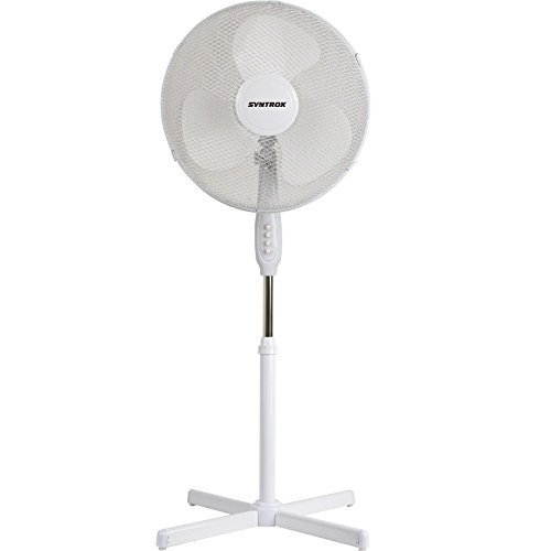 Syntrox Germany SVT-44W-W Ventilator mit Oszillation Standventilator Windmaschine Axialventilator Lüfter Gebläse Luftkühler -
