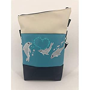 Handtasche Delfin Herz Tasche Foldover Schultertasche