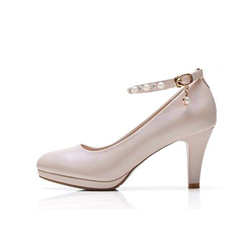 shoeshaoge Scarpe Donna Tacchi Nero con sottile elegante testa rotonda Rosa Professionale un parola Bianco Scarpe fibbia Solid color
