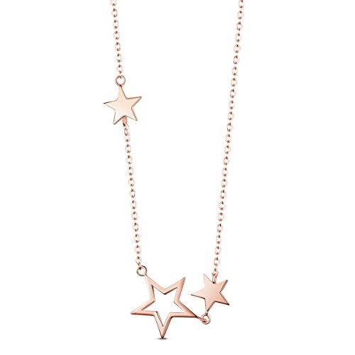 SHEGRACE 925 d'argento placcata d'oro stella collane rosa