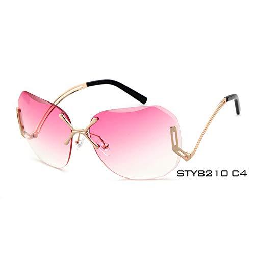 Taiyangcheng Gafas de sol transparentes para Mujeres, gafas de sol transparentes, montura metálica de Gran tamaño,C4