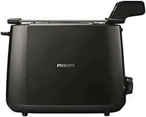 Philips Daily Collection HD2583/90 600-Watt 2 in 1 Toaster + Grill in The Same Toaster(Black)