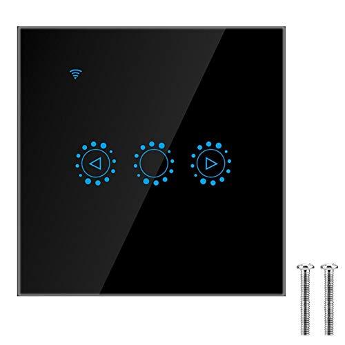 WiFi Lichtschalter, Smart Home Wireless Wand Touch Panel Schalter APP Fernbedienung Schalter Unterstützung Sprachsteuerung, Timing Funktion, Kompatibel mit Alexa, Goo gle Home (EU)(Schwarz)