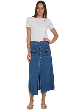 Falda vaquera a media pierna - botón frontal Stonewash Denim falda de Mid SHEENA