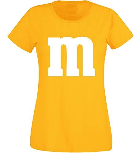 Nation Damen T-Shirt Rundhals Karneval & Fasching JGA - Gruppen-Kostüm M Aufdruck - MM (XS, Gelb)