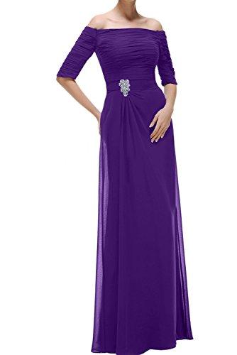 Ivydressing Damen Abendkleider Mit Aermeln Lang U-Ausschnitt Chiffon Promkleid Festkleider Violett