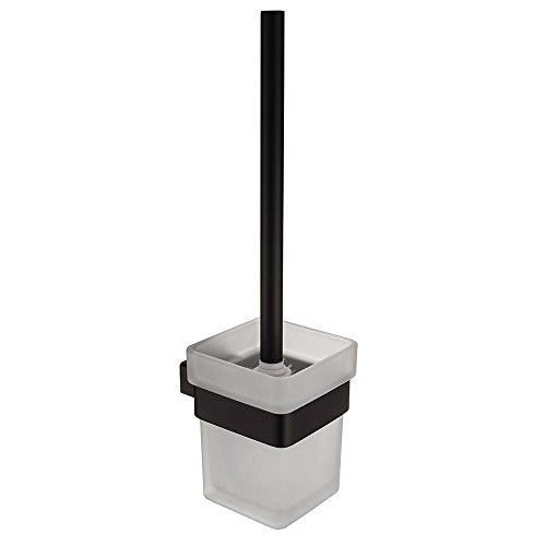 CASEWIND Elegant Toilettenbürstenhalter mit Bürste und Becher Toilettte Set, Quadratisch Amerikanisch Schwarz Stil für WC mit Edelstahl und Glas Konstruktion Bohren -