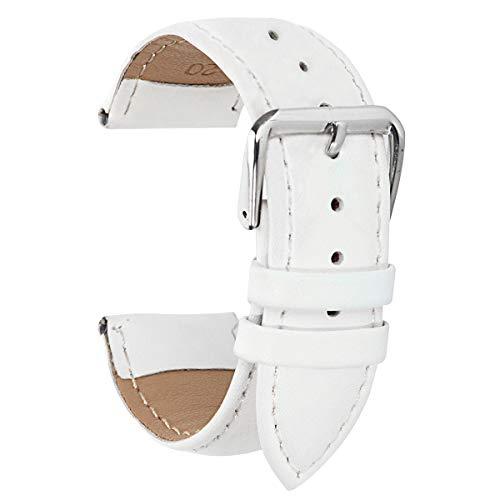 Sportuhr Lederband Weiß 15mm Uhrenarmband Armband 15mm für Damen Lederarmband Ersatz (Weiß Uhrenarmband Herren Ersatz)