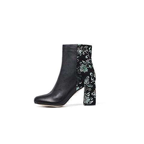 Damen Leder Stiefeletten Frauen Stiefel Kurzschaft Ankle Boots Sexy High Heel Blockabsatz Rund Zehe Blumen Mit Reißverschluss Große Größe(42,Glattleder+Grün blumen)