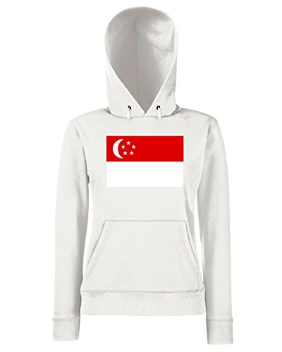 T-Shirtshock - Sweats a capuche Femme TM0240 singapore flag flag Blanc