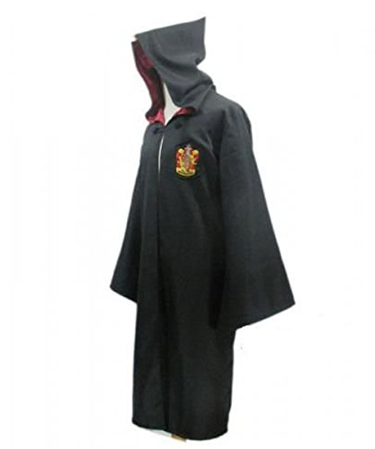 Harry Potter Kostüm Jünger Erwachsene Gryffindor Slytherin Ravenclaw Hufflepuff Adult Child Unisex Schule lange Umhang Mantel Robe(Gryffindor for Adult,Large)