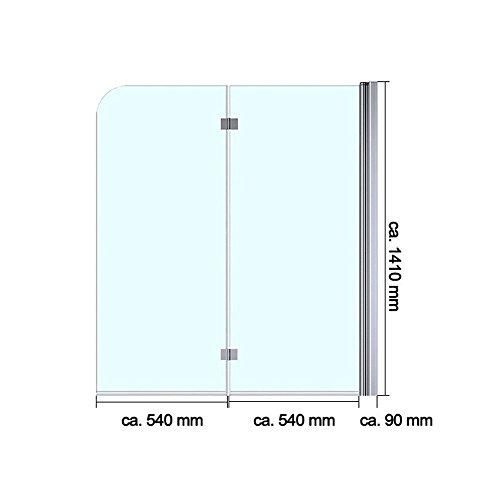 Duschabtrennung / Duschwand für Badewane aus Glas Cortona1408S-rechts, Wandanschlag rechts, inkl. Nanobeschichtung - 6