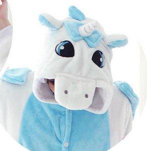 Kenmont Jumpsuit Tier Cartoon Einhorn Pyjama Overall Kostüm Sleepsuit Cosplay Animal Sleepwear für Kinder / Erwachsene Unicorn Blue