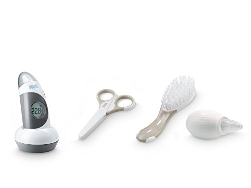 NUK 10225113 Pflege-Set mit je 1x Baby Thermometer 2in1, Nagelschere, Babybürste, 1x gratis Nasensauger