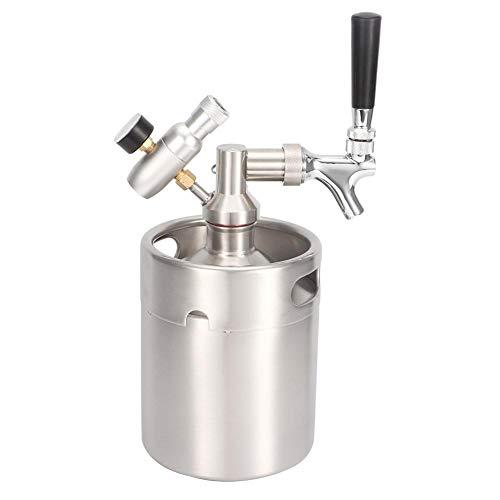 Druckbier-Mini-Fass-System - 2-l-Edelstahl-Brummhahn, tragbares Mini-Fass-Spenderset mit einem Manometer der Stufe 1 für Craft Beer Draft Homebrew -