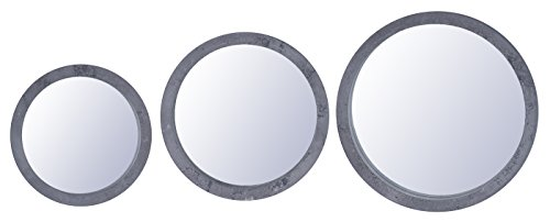 levandeo Spiegel 3er Set 25cm 30cm 35cm Rund Holz Grau gewischt Betonoptik Wandspiegel Deko