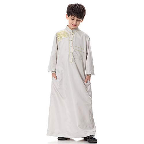 QinMM M-2019 Muslimische Teenager-Jungen-Robe - Mittlerer Osten Bestickte Robe Langarm Saudi Islamisches Traditionelles Ethnisches Kostüm Langer Maxi-Rock Einfarbig Passend - Saudi Arabische Kostüm Frauen