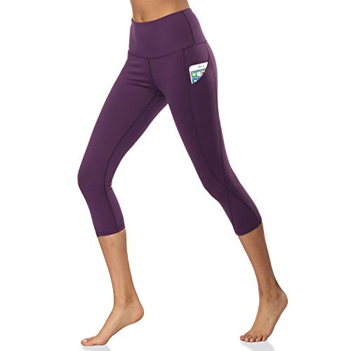 SOUTEAM Frauen Bauchkontrolle Athletic Workout Leggings Capri Seitentasche Fitness Running Pants, Jungen, Violett, X-Large