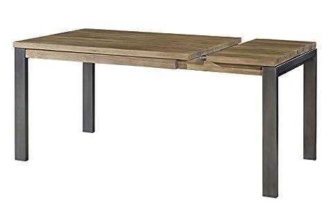 Bois massif Table à manger rectangulaire extensible réglable, extensible jusqu'à 160cm