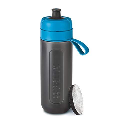 BRITA Wasserfilter-Flasche fill&go Active Blau, Robuste Sport Trinkflasche mit Wasserfilter für unterwegs aus BPA-freiem Kunststoff - Zusammendrückbar