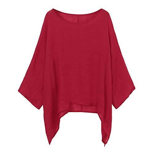 Damen Casual Plus Größe Lose Baumwolle Leinen Volltonfarbe Tops Shirt Bluse MYMYG Frau Pullover Langarmshirt Sweatshirt (rot,EU:48/CN-5XL) - Rot Gerippt Pullover