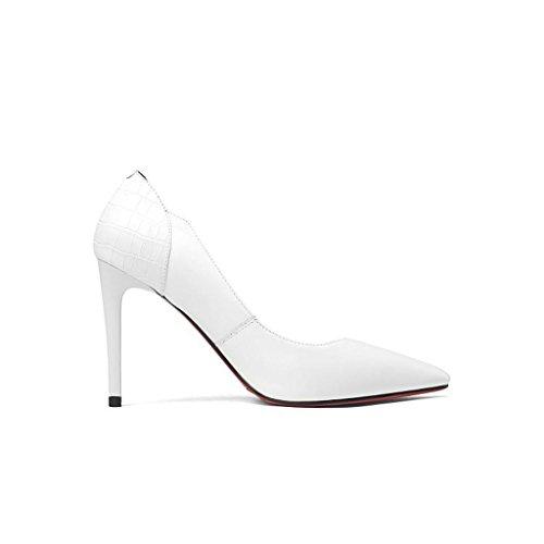 W&LMScarpe singole Femmina Fine con Tacchi alti appuntito Bocca poco profonda Scarpe basse Scarpe di pelle Posto di lavoro Sala da ballo White