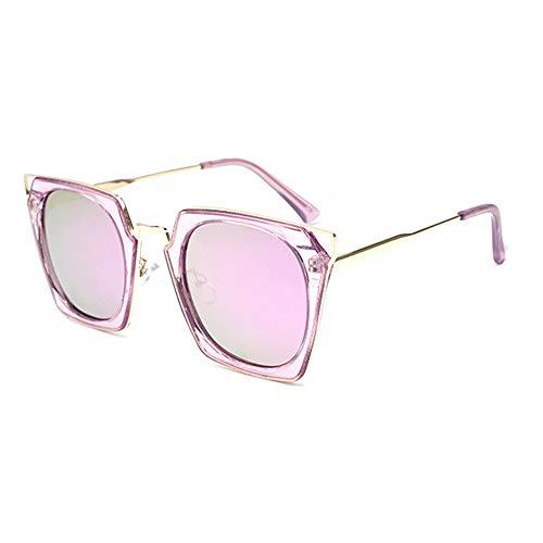 WULE-Sunglasses Unisex Transparente Farbe Quadrat großen Rahmen Cat Eye Brille UV400 Schutz Neue Damen polarisierte Sonnenbrille (Farbe : Purple)