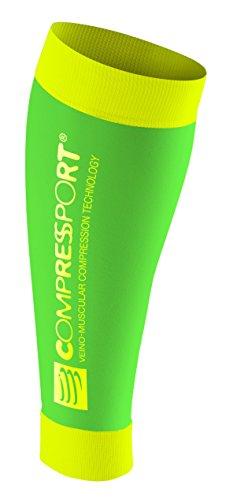 Compressport Calf R2 Calze Compressive da Gara e da Recupero, Verde (Fluo Green), 2