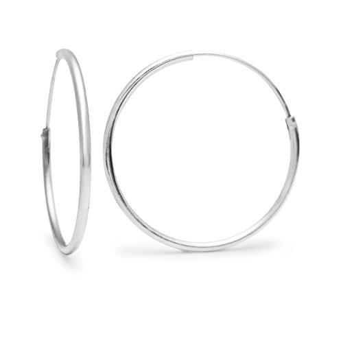 Silverline Jewelry Boucles d'oreilles créoles (Parent) Sterling Silver 24mm