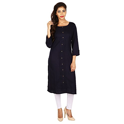 D_wardrobe Casual solid plated Women's cotton Kurti with white legging  available at amazon for Rs.469