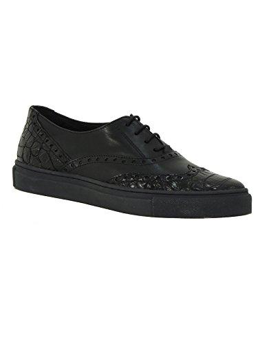 Scarpa donna Tosca Blu Lybra sneaker bassa stringata in pelle SF1510S181 nero 38