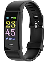 gouxia74534 Geschenke Valentinstag Smart Watch Smart Armband Farbdisplay Smart Watch IP67 Wasserdicht Tracker Armband Schrittzähler mit Herzfrequenz Blutdruck Schwarz