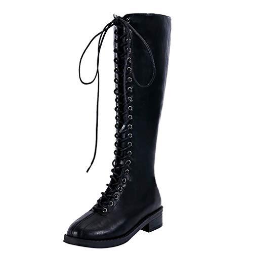 Damen Klassischer Langschaft Hoch Schnürstiefel Reitstiefelette, Frauen Winter Herbst Warm Niedrig Stiefel Chukka Boots, Women Mode Oxford Leder Combat Biker Boots Flandell -