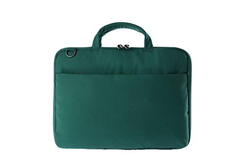 Tucano Darkolor Hartschalentasche für Laptop Notebook bis 14 Zoll, für den mobiler Arbeitsplatz mit praktischer Standfunktion und abnehmbarem Schultergurt - Grün