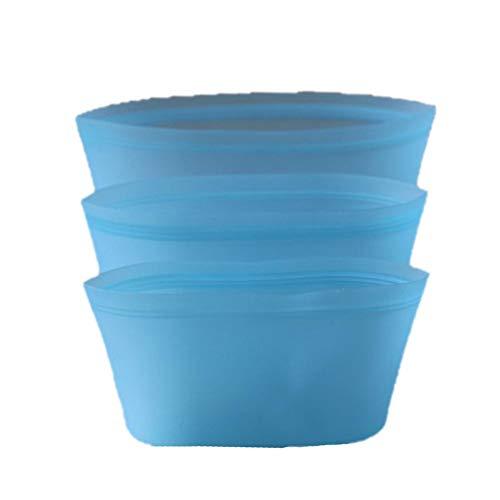 Silikon Lebensmittel Reißverschlusstasche auslaufsichere Lebensmittelkonservierungsbeutel Siegel Kochbeutel wiederverwendbare waschbare Nahrungsmittelbehälter -