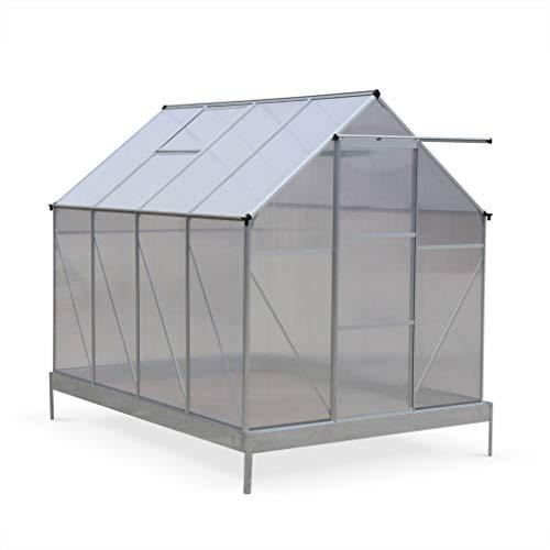 Serre de Jardin Chene en Polycarbonate 5m² avec Base, 2 lucarnes de Toit, gouttière, Polycarbonate 4mm