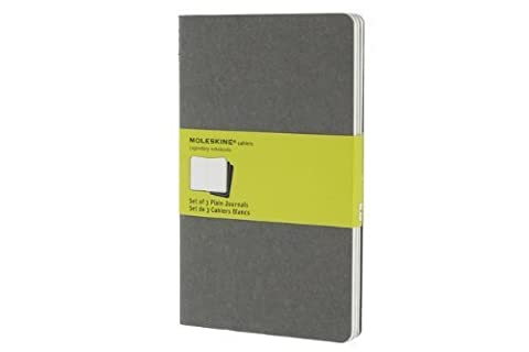 Moleskine Cahier Journal (Set of 3), Large, Plain, Pebble Grey, Soft Cover (5 x 8.25) by Moleskine (2012) Diary