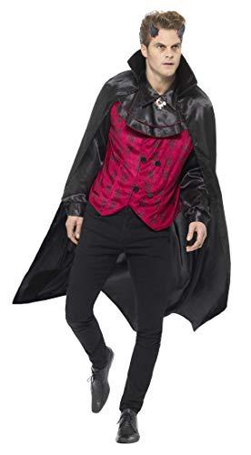 Smiffys Herren Eleganter Teufel Kostüm, Weste mit Hemd und Umhang, Größe: XL, 46843 (Eleganter Teufel Kostüm)