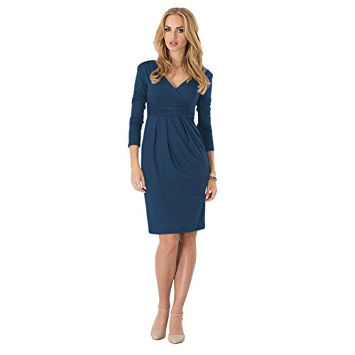 WanYang Donna Manica Lunga Casuale Vestito Midi Casual Autunno V-Collo Midi Lungo Abito da Sera Profondo blu