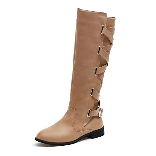 HAINE Womens Flat Zip UP Slouch Mid Calf Lace Riding Casual Boots Shoes Khaki Size 3 UK