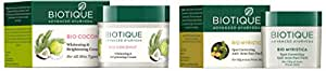 Biotique Bio Coconut Whitening And Brightening Cream, 50g & Bio Myristica Spot Correcting Anti Acne Face Pack, 20g Combo