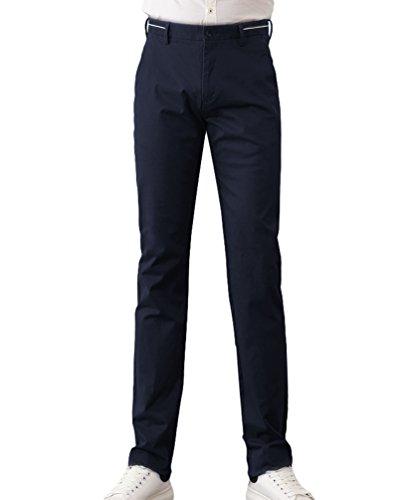 Yiiquan Uomo Stile Casuale Pantaloni Chino Stile di Base Elasticita Slim Fit Pants Colore Solido Scuro Blu
