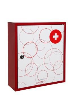 Arregui  BT001-1 - Botiquin, acero decorado,  llave de serreta, 100x315x360mm, Blanco/rojo