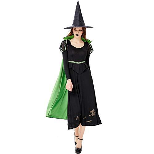 Heiße Kostüm Halloween - BIBOKAOKE Heißes Halloween Cosplay Kostüm Vintage Damen-Kleider Abendkleid Langärmliges Kleid Partykleider Cocktailkleid Umhang Hut 3pcs