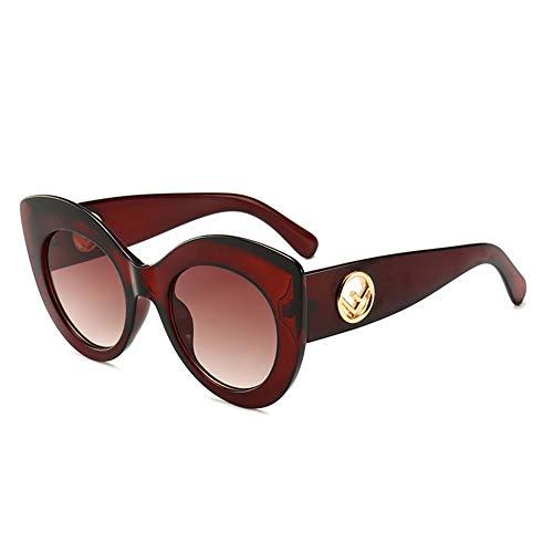 Männer Und Frauen Frühlings- Und Sommersonnenbrille Europa Retro Sonnenbrille Katzenaugen Mikronorm Schmale Sonnenbrille Mode Street Beat Persönlichkeit Runde Fassung Leopardenbrille, Rotbraun