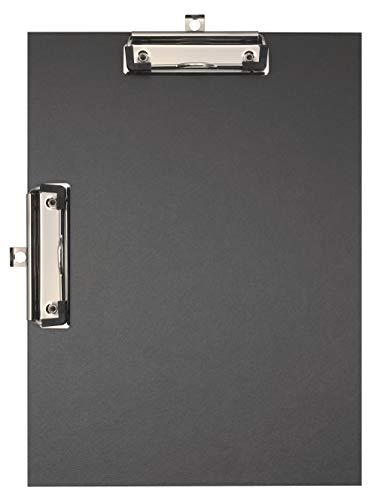 Falken Doppel-Klemmbrett Öko für DIN A4 hoch und quer mit stabilem Pappkern und farbigem Papierbezug außen für DIN A4 schwarz Blauer Engel Umweltklemmbrett ideal für Inventur und Lagerwirtschaft