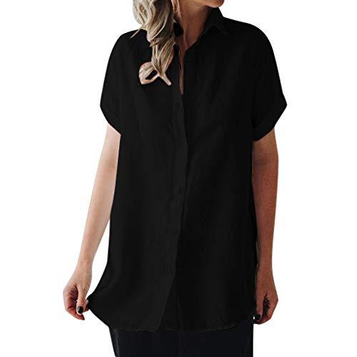Felicove Damen Beiläufige Bluse Sommer Revers Neck T-Shirt Damen Kurzarm Schnalle Bluse Tops Lose Baumwolle Oberteile