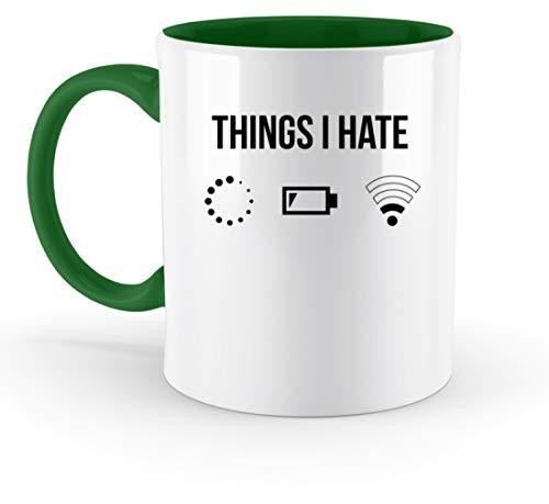 PlimPlom Things I Hate Lustige Programmierer Kaffeetasse Computer Informatiker Geschenkidee - Zweifarbige Tasse -330ml-Irish Green